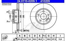 ATE Juego de 2 discos freno Trasero 251,5mm para FIAT ALFA ROMEO 147