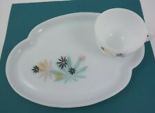 FEDERAL Glass Plate & Cup SNACK PATIO SET / ATOMIC FLOWER/ Vtg Retro