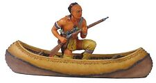 Veronese Figurine American Indian Mohican on Canoe Statue Gift Home Decor