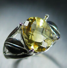 3.6ct Natural soft Yellow Citrine oval checkerboard cut Sterling 925 Silver ring