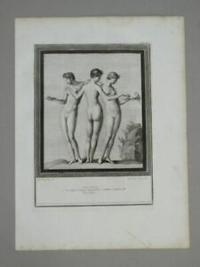 Tre Grazie Nude Billy Morghen - Kupferstich - Pitture Herculaneum Grazien - 1762
