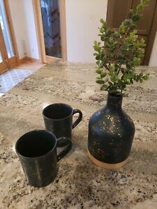"Joanna Gains Magnolia 8.5"" Stoneware Vase Green w Mugs Spray Speckled Farmhouse"