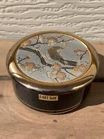 The Art of Chokin 24 kt Gold Edged Trinket Box w/ Lid Bird Cherry Blossoms JAPAN