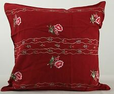 Embroidered Red Roses cotton cushion cover 50cms