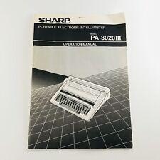 Sharp Portable Electronic Intelliwriter Typewriter Operation Manual PA-3020III