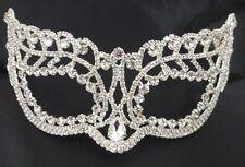 Crystal Bridal Clear Rhinestone Laser Cut Venetian Masquerade Mask Pear