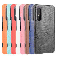 For Sony Xperia L4 5 1 10 II 8 Lite 5 Ace 10 PLUS Crocodile Leather PC Hard Case