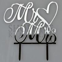 Silver Wedding Cake Bride & Groom Topper Mr & Mrs Love Heart Acrylic Decoration