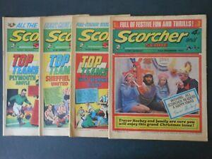 FOUR 1972 Vintage SCORCHER and SCORE Comics 1/8/15 Jan & 23 Dec (Xmas issue)