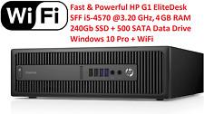 Powerful HP G1 SFF i5-4570 4GB RAM NEW 240Gb SSD + 500 SATA Win10 PRO/WiFi