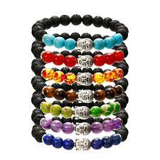 7 Chakra Bracelet Lava natural Stone Healing Beads Buddha Mala Reiki Anxiety 8mm