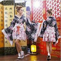 Vintage Yukata Japanese Cosplay Women Short Dress Sundress Long Sleeve Sz Haihk