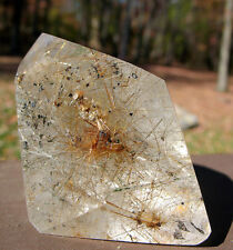 Polished Madagascar Rutilated Quartz Crystal w Inclusions