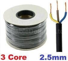 20m Metre Coil 2.5mm BLACK 240v 3 Core Round Flex PVC Cable Reel Wire UK 3183Y
