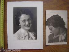 2 Photos portrait jeune femme BLANC DEMILLY Lyon epreuve sans retouche Mlle MAS