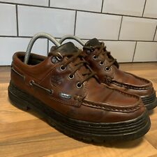 Timberland VINTAGE Brown Leather Boat Deck Shoes Chunky Thick Sole Mens UK 8 US9