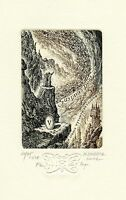 Hommage a Gustave Dore, Limited Edition Ex libris Etching by Marius Liugaila