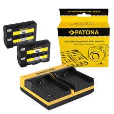 2x Batteria Patona + caricabatteria USB dual Minolta Dimage A2,Dynax 5d,Dynax 7d