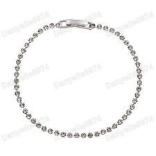 "7.25"" FINE diamante BRIDAL thin CRYSTAL BRACELET glass rhinestone SILVER PLATED"