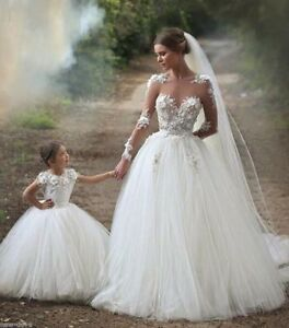 New Lace/Tulle Ball Gown Wedding Dress Flower Girl Dress Prom Formal Custom size