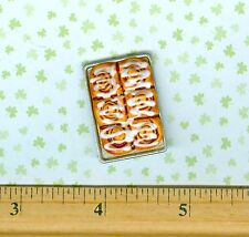 Dollhouse MINIATURE size Food Cinnamon Rolls in Pan  ( Batch # 110 )