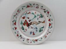 White Christmas by Farberware Salad Plate Red Barn With Children b67