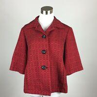 Coldwater Creek Petite Large PL Blazer Jacket Red Black Textured 3 Button Pocket