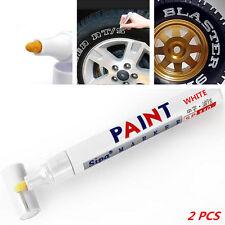 2x White Universal Car Waterproof Wheel Tyre Tire Tread Rubber Paint Marker Pen
