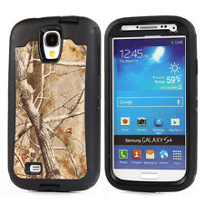 For Samsung Galaxy S4 Heavy Duty Hybrid Rugged Shockproof Camo Case Cover + Clip