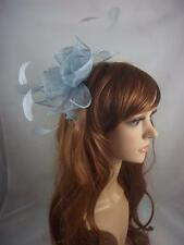 Pale Blue Rose Comb Fascinator with Feathers - Occasion Wedding Races