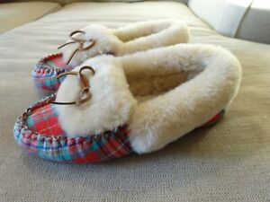 LANDS' END Plaid Moccasin SLIPPERS SHOE Shearling Lined Pink Womens Size 9 / 40