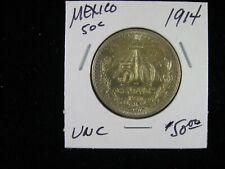 1914 MEXICO 50 CENTAVO .800 SILVER NICE UNCIRCULATED