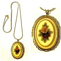"Vintage Gold Tone Twist Yellow Flower Cameo Pendant Necklace 24"""