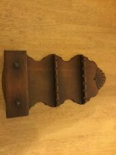 VINTAGE PRIMITIVE WOODEN COLLECTIBLE SOUVENIR SPOON WALL RACK DRAWER HOLDS 12