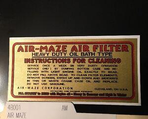 AIR-MAZE Oil Bath air cleaner Briggs & Stratton Wisconsin decal engine gold