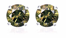 S. Michael Designs 1.11Cts. T.W.  Champange Diamond Stud Earrings - 10K WG