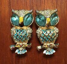 Cute Vintage Coro Duette Owls Aqua Eyes Fur Clip Brooch Pin Buy It Now