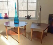 2 Lane Mid Century Modern Side/End Tables Lane Wedge & Round Walnut