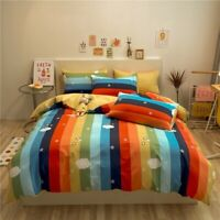 Colorful Cotton Cartoon Duvet Cover Bed Linen Fitted Sheet Bedclothes 4PCS