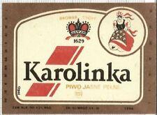 POLAND Browar Tychy Karolinka folk woman beer label C1636