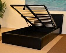 4ft6 Double End Lift Up Ottoman Storage Bed Faux Leather -Black