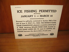 VINTAGE 4-72 PENNSYLVANIA GAME COMMISSION ICE FISHING NOS CARDBOARD SIGN