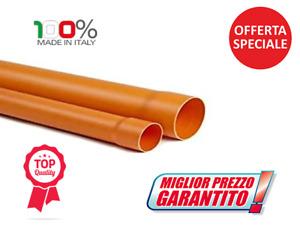 TUBO PVC ARANCIO PLASTICA TUTTI I DIAMETRI LUNGHEZZA ML 1 rosso fognatura