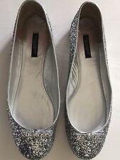 Dolce & Gabbana Glitter Silver Comfy Ballerina Flats NET A PORTER