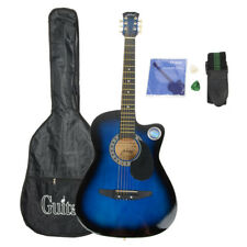 New Blue Basswood Cutaway Acoustic Guitar w/Bag String Pick Strap for Beginner