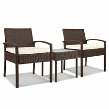 Gardeon Outdoor Set of 2 Chairs and Table - Brown (ODF-TEA-RATTAN-S-BR)