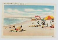 Postcard Linen Watch Hill Beach Rhode Island Sun Bathers