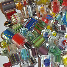 4 oz Lot Furnace Cane Glass,Assorted Shapes/Sizes, 4- 25 mm(Approx.160 beads)Y41