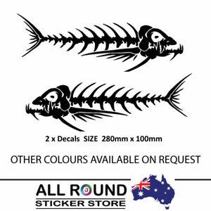 2 x FISH SKELETON STICKER DECAL FOR BOAT CAR 4X4 RV CAMPERVAN 280mm wide
