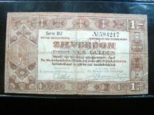 NETHERLANDS 1 GULDEN 1938 DUTCH SILVER ZILVERBON 217# BANK BANKNOTE MONEY
